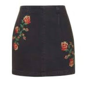 Topshop Black Floral Embroidered Denim Mini Skirt